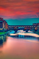 Ponte Vecchio, Florence (BlindThirdEye) Tags: pontevecchio sunset italy florence wideangle slowshutter lowlight longexposure colors flickrtravelaward