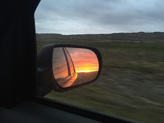 Objects in Mirror Are Closer Than They Appear (Tim Gupta) Tags: east iceland rearviewmirror sunset car midnightsun