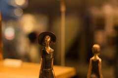 She (Djordje Ilic) Tags: nikon d750 fx 50mm f14 14g prime lens light bokeh shallow dof metal drop drops depth field bronze hat lady sepia orange