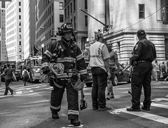 Into the unknown (C@mera M@n) Tags: blackandwhite manhattan newyorkcityphotography newyork outdoor continentalbankbuildingfireaugust92016 ny firefighter photojournalism candid bw nyc newyorkcity fdny outdoors monochrome candidpeople financialdistrict places wallstreet unitedstates us
