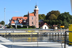 Lighthouse and view nearby (navarrodave80) Tags: water river lighthouse bench ustka poland nikon d3300