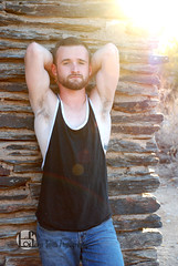 Alex (Levi Smith Photography) Tags: tank top tanktop black backlit glow sun desert rocks cabin wall shadow silhouette armpit muscle man men fashion hot sexy arms biceps handsome