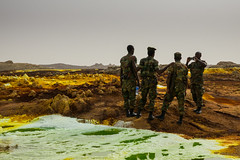 Selfie soldiers, Ethiopia (hugemittons) Tags: ethiopia africa hornofafrica danakil dallol afar afarzone colorful colourful martian surreal african ethiopian soldier soldiers army defence military guard infantry security depression