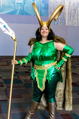Female Loki (J Wells S) Tags: loki femaleloki horns helmet smile candidportrait portrait woman prettywoman cincinnaticomicexpo dukeenergycenter cincinnati ohio cosplay costume dressup cape weapon armor fur marvelcomics