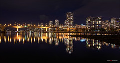 Across The Water (Clayton Perry Photoworks) Tags: vancouver bc canada fall autumn explorebc explorecanada night lights downtown outdoor falsecreek bridge cambiestreetbridge panorama skyline reflections buildings yaletown