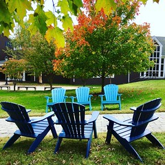 Garrison Forest School ~ HBM! (karma (Karen)) Tags: garrisonforest owingsmills maryland baltimoreco benches adirondackchairs trees fallcolor brightcolors iphone benchmonday hbm