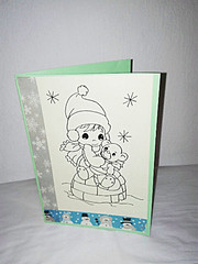 Greeting Card Winter (NiRoGiftsandDeco) Tags: greeting card greetingcard winter girl teddybear handdrawn handmade awesome drawing