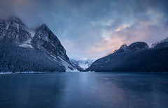 Louise (gwendolyn.allsop) Tags: lake louise morning cold snow water sunrise color clouds mountains