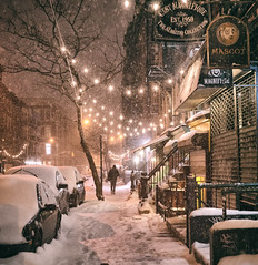 New York City - Snow  - East Village Lights --- (Vivienne Gucwa) Tags: street nyc newyorkcity winter snow newyork night manhattan snowstorm urbanphotography newyorkatnight nycnight nycphoto nycwinter nycsnow citysnow newyorksnow cityphotography newyorkphoto newyorkcityphotography newyorkcitybook snowstormnewyorkcity viviennegucwa viviennegucwaphotography
