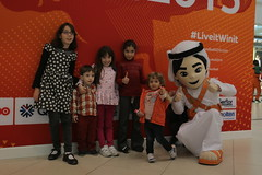 Fahed at the shop opening in City Center Mall, Doha (2015Handball) Tags: handball shopopening citycentermall fahedthemascot qatar2015