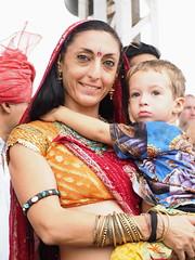 Pleased & proud (DarkLantern) Tags: india child turquoise mother son fair jewelry dancer jewellery bracelet pushkar indien rajasthan bindi inde mela 2014