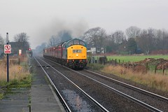 EE Class 40 D345 with 1Z40 Compass tours ' The Festive St Nicholas Explorer' from Southport to York approaches Hoscar Moss Station on 29th November 2014  (steamdriver12) Tags: blue english heritage saint electric festive corporate br diesel explorer railway class nicholas 40 tours compass ee the d345