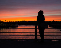 Silhouette (cylynex) Tags: nyc newyorkcity travel sunset girl silhouette travels nj hudsonriver traveling travelphotography newyorksunset