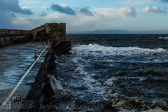 Saltcoats Harbour (GenerationX) Tags: road blue sea sky white storm water clouds fence scotland waves unitedkingdom harbour seagull steps january scottish neil spray foam railings barr crashing ayrshire saltcoats