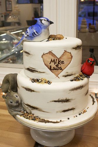 Birds and Squirrel Birch Tree Wedding Cake