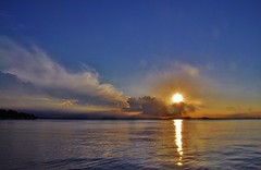 Sun about to set across the Adriatic (stevelamb007) Tags: stevelamb zadar petrcanecroatia croatia petrcane adriatic sunset d90 clouds sky landscape sun reflection silverlining seascape adriaticsea storm 18200mm