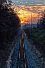Off into the sunset (Mike Matney Photography) Tags: railroad sunset sky weather canon illinois midwest december tracks troy couds 2014 eosm