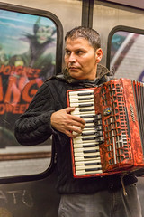 Joignez l'accordon (hipSh0ts) Tags: people music man train comics subway text mtro accordion transportation ubahn handorgel