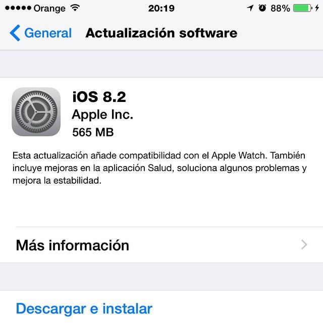 CUIDADO Amig@s!. Nueva actualización de #Apple , la 8.2 con mas de 500 Megas!. #Iphone6Plus #ipadair