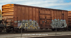 QGRY Boxcar with Graffiti (2015-01-24 10-49-39a) (garysibio) Tags: graffiti illinois rail trains boxcar freight rollingstock 2015 franklinpark railfans qgry