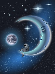 Blue moon (uklanor) Tags: moon vectorart space astronaut luna vector astronauta