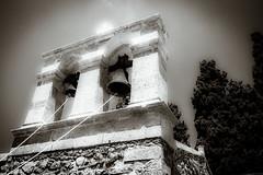 The belltower (vale0065) Tags: kreta klooster monikardiotissas crete greece griekenland abdij abbye klok bell klokkentoren tower bw zwartwit belltower kerakardiotissamonastery monastery mediterranean travel reis holiday vacation vakantie middelandsezee holy monk orthodox christian koord rope bronze brons