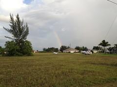 Rainbow over the with car from m horn (er_kohl) Tags: mueller horn diesel touareg volkswagen vw rainbow raining