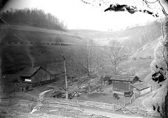 Farm (Pythaglio) Tags: wood trees roof winter chimney horses house mountain building men glass farmhouse barn yard forest fence buildings log corn stream carriage farm board smoke albert hill central shingle structures logs rail plate location structure historic negative pasture valley porch scanned integral crib unknown fencing split residence appalachia slope hollow exposed addition ewing outbuilding dwelling outbuildings topography notching halfdovetail