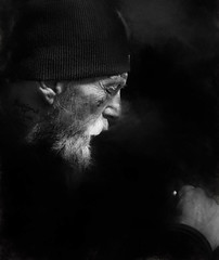 Lost (houman_thebrave) Tags: street portrait bw white black face hat canon beard photography smoke homeless profile highcontrast 6d paintover