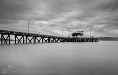 Kilcreggan Pier (GenerationX) Tags: wood bw white black water ferry landscape mono scotland pier still flat unitedkingdom jetty scottish peninsula helensburgh kilcreggan rosneath gareloch argyllandbute