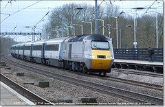 The final East Coast Trains working that I saw, 43277 leads 1S22 north through Huntingdon,  February 28th 2015 (Bristol RE) Tags: 43 eastcoast huntingdon hst 254 class43 class254 43077 1s22 43277