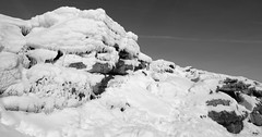 When The Thaw Set In (Derbyshire Harrier) Tags: winter bw snow ice monochrome melting derbyshire peakdistrict kinder icicles thaw darkpeak edale moorland gritstone kinderscout 2015 peakpark kinderdownfall