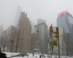 Monday Colours - Snow in New York (Pushapoze - mostly off) Tags: newyorkcity columbuscircle