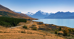 Route to Mt Cook (jaygilmour11) Tags: mtcook mountain newzealand travels hills graass trees sun water ice snow green blue landscape rocks beautiful worldtrip