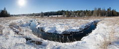 Icy Valley (Ben_Senior) Tags: ottawa ontario canada nature landscape weeds sun rising morning cold snow snowy ice icy frost bensenior blue sky panorama stitch creek water trees forest winter