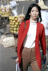 32-400 (ndpa / s. lundeen, archivist) Tags: china city winter red portrait people woman color fall film face hat bike bicycle fruit 35mm sweater candid nick chinese citylife taiwan streetphotography streetlife produce 1970s redsweater 1972 32 youngwoman taiwanese dewolf republicofchina conicalhat nickdewolf photographbynickdewolf reel32