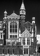 Sion Hall - Mono (f0rbe5) Tags: sionhall sioncollege perpendiculargothicstyle perpendiculargothic perpendicular gothic style architecture building offices college victorian victoriangothic 1886 brick gradeii listedbuilding listed sirarthurblomfield blomfield designer architect black white bw monochrome blackandwhite contrast victoriaembankment blackfriars riverthames london uk 2011 cityoflondon thecity