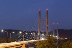 Passage Back (player_pleasure) Tags: suspendedbridge bridge steel cables ohio kentucky night nightlights lighttrails lights