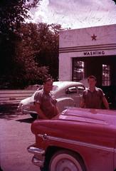 1950s at the garage (rich701) Tags: vintage 35mm color 1950s langhorne pa pennsylvania carclub automobileclub 1954mercury bthriftyfoods texaco youcantrustyourcar