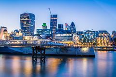 HMS Belfast London Cityscape HDR (Davestarling) Tags: canon1740mmf4l canon6d uk london hms belfast thames hmsbelfast cityscape longexposure hdr bluehour blue water