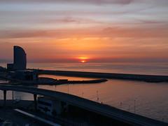 Good Morning Barcelona (lamnn92) Tags: barcelona spain sunrise dawn balearicsea water sky sun clouds port travel mediterranean panasonic fz1000