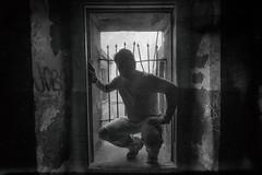 Self Portrait (Thomas Hawk) Tags: america batterymendel california marin marincounty marinheadlands mendel northbay thomashawk usa unitedstates unitedstatesofamerica abandoned battery graffiti military militarydecay selfportrait silhouette fav10 fav25 fav50
