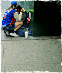 Homeless Couple (Robert S. Photography) Tags: street homeless homelessness people couple pavement sodacup cigarette nyc manhattan canon powershot color elph160 iso200 september 2016
