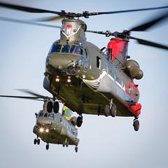 """Wokka formation"" (Steve Matterface) Tags: odiham chinook jointhelicoptercommand peggy mk4 nook 18squadron nelly royalairforce pegasus 18sqn 28sqn 28squadron 27squadron nellie peggie 100years 27sqn helicopter wokkaformation hc4 boeingvertol wokka anniversary raf 100anniversary"