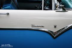 Doorway To Victoria (Hi-Fi Fotos) Tags: ford fairlane crown victoria 1955 american vintage antique classiccar door trim chrome badge style blue detail twotone nikon d5000 hififotos hallewell