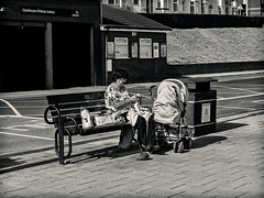 Cleethorpes 23.09.2016 (Reynard_1884) Tags: urbanlife seasideresort people micro43rds mono knitting urban streetphotography lincolnshire seafront coast uk olympusomd olympusomdem5 olympus england street greatbritain cleethorpes blackwhite mirrorless monotone riverhumber microfourthirds beach monochrome artinbw ballofwool bw northeastlincolnshire mu43 silverefexpro2 em5 coastaltown blackandwhite seaside