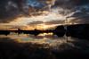Klintholm havn (Kent 40D) Tags: klintholm klintholmhavn havn solnedgang silhouet vand hav skyer sol skygger ricohgr