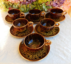 Marius Giuge French Pottery Cups & Saucers ~ Vallauris France ~ Gold (Donna's Collectables) Tags: marius giuge french pottery cups saucers ~ vallauris france gold thanksgiving christmas