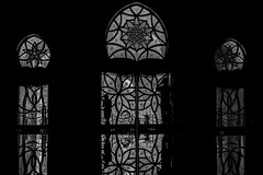 ... betweentheworlds... (*ines_maria) Tags: silhouette photographer window sunset light reflection bw monochrome blancetnoire