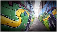 Alleyway artwork (JakaPH Photography) Tags: street urban graffiti artwork alley alleyway brisbane queensland australia colour color city bright wideangle people art artistic leading